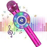 FISHOAKY Karaoke Mikrofon, 4 in 1 Bluetooth Mikrofon Karaoke Tragbarer Drahtlose Mikrofon Stereo Player mit Dynamisches Licht, Kompatibel...