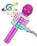 ShinePick Karaoke Mikrofon, Bluetooth Mikrofon Kinder, 4 in 1 Drahtloses Tragbares Microphon mit Lautsprecher Tonaufnahme, für Party...