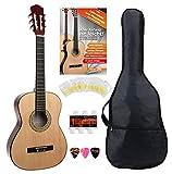 Classic Cantabile AS-851 3/4 Konzertgitarre Starter Set (Komplettes Anfänger Set mit Klassik Gitarre, Gigbag Tasche, Nylonsaiten,...